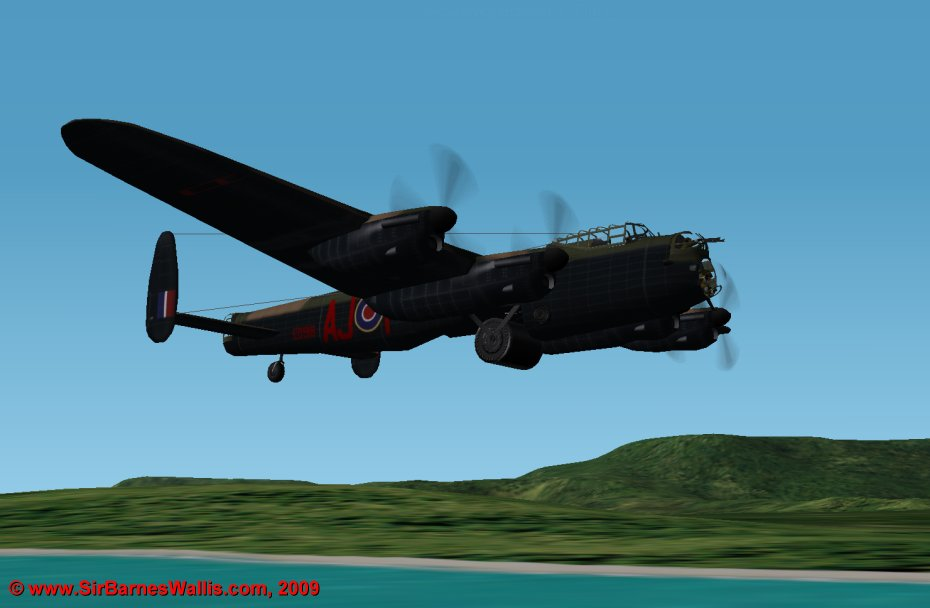 The cylindrical Upkeep mine was held beneath the Lancaster in two V-shaped callipers